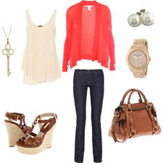 Coral Cardigan, Wedges and pearls. Love my creation.