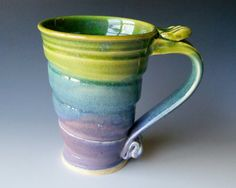 Pottery Coffee Mug in Green Lavender and Blue by riverstonepottery