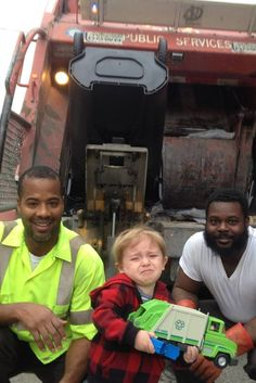Toddler Finally Meets Garbage Men He Idolizes And He Can't Even