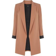 OASIS Tailored Longline Jacket (€42) ❤ liked on Polyvore featuring outerwear, jackets, coats, coats & jackets, blazer, natural, longline blazer, beige jacket, fleece-lined jackets and beige blazer