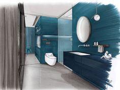 Drawing Interior, Interior Design Sketches, Interior Rendering, Sketch Design, Blue Bathrooms Designs, Bathroom Plans, Bath Design, Planer, Interior Architecture