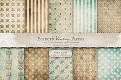 """This 10 piece pack of papers are printable at 8.5"""" x 11"""" at 300 ppi.This lovely Aged Aqua color collection features a variety of textured damask, stripe and dot patterns in aqua and brown. Each graphi"""