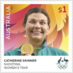 Catherine Skinner Shooting Women's Trap sheetlet of 10 Rio Olympics 2016, Summer Olympics, Australia Olympics, Gold Medal Winners, Women's Shooting, Postage Stamp Art, Rio 2016, One Team, Olympic Games