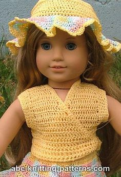 American Girl Doll Sleeveless Wrap Top pattern by Elaine Phillips