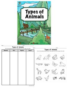 This is a great activity to follow up a lesson on the different types of animals. The activity includes the two pages shown above. It covers mammals, insects, birds and reptiles. Students cut out the pictures and glue them in the column under the correct type of animal title.  You can find it at:  http://www.teacherspayteachers.com/Store/Helps4teachers