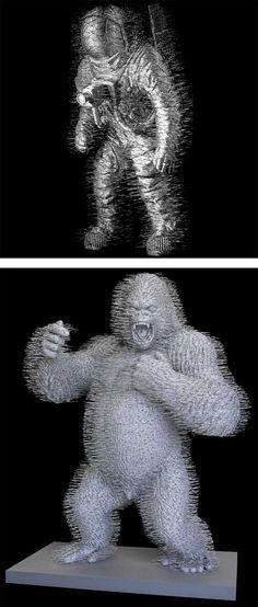 Wire Coat Hanger Sculptures by David Mach | Inspiration Grid | Design Inspiration