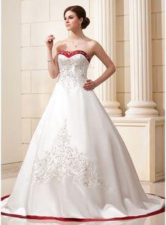 De baile Coração Cauda longa Cetim Vestido de noiva com Bordados Cintos Bordado Lantejoulas