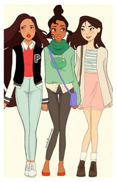 Pocahontas, Tiana, and Mulan modern-day. my fav is Mulan Disney Pixar, Tiana Disney, Walt Disney, Disney Fan Art, Cute Disney, Disney Animation, Disney And Dreamworks, Disney Girls, Disney Magic