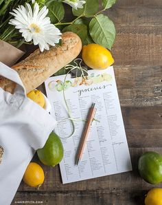Editable and Printable Citrus Themed Grocery List