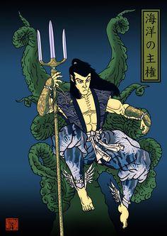 I did Namor in a Japanese woodblock style. Hope you like it. Marvel Comics Superheroes, Dc Comics Art, Marvel Art, Marvel Heroes, Japanese Art Styles, Japanese Style, Martial Arts Gear, Ninja, Old School Tattoo Designs