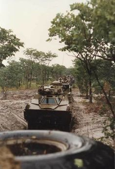 SADF 61 Mech Ratel 90 in convoy during the Border War circa 1980's