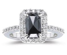 White Diamond and Black Diamond Ring in 14K White Gold ►► http://www.gemstoneslist.com/jewelry/black-diamond-rings.html?i=p