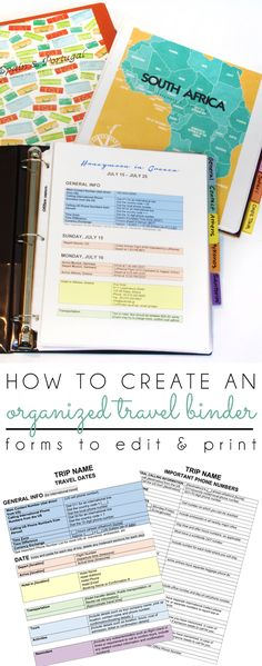 {organizing with style} Create an Organized Travel Binder + Free Printable…
