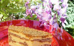 Retete Culinare - Prajitura cu nuci caramelizate, crema de vanilie si lamaie