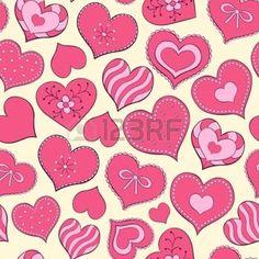 motif coeur: Vector illustration d'seamless pattern transparente avec dessinés à la main valentine hearts Illustration