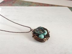 Wire Wrapped Nest Pendant by Susoodles on Etsy