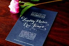 Terrific use of bold, rich colors!! | Lindsy + Eric's Hot Pink and Navy Floral Wedding Invitations