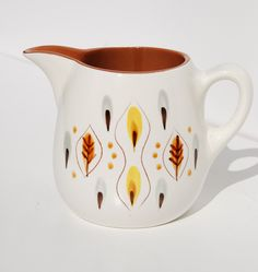 Vintage Amber Glo Stangl Pottery, Large Gravy Pitcher, Mid-Century, Leaves, 1950