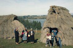 Esparcidas por el territorio sobre lomas elevadas para vigilar sus siembras y ganados, las viviendas de los araucanos en el sur de Chile se asientan,...