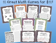 The ten math games included in this file are:  Kaboom - Improper Fractions to Mixed Numbers Kaboom - Adding and Subtracting Decimal Numbers Math Boggle I have, Who has Fahrenheit Temperature I have, Who has Celsius Temperature Variable Slap - Addition and Subtraction of Unknowns Variable Slap - Multiplication and Division of Unknowns Greater than, Less than, Equal to card game Comparing Fractions Dice Game Mean, Median, Mode, Range Game