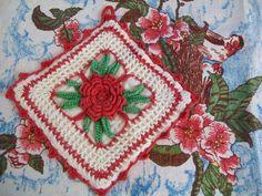 SALE  Vintage linen towel and pot holder red floral by BlueSkyLane