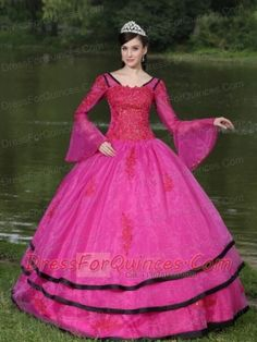 Quinceanera Dress The Most Popular Long Sleeves Appliques Decorate Fushsia With V-neck