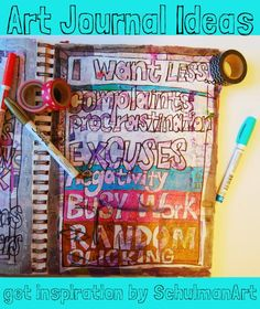 art journal ideas | get inspiration for your art journal pages on http://schulmanart.blogspot.com/2015/03/art-journal-idea-more-or-less-in-2015.html