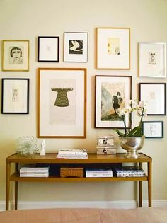great gallery wall, orchid in bowl