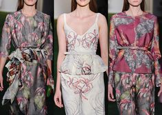 Alexandre Hercovitch A/W 2013-  Exotic Florals  - Abstracted Prints – Muted but Romantic Colour plays – Slightly Dark Exotic Prints – Linear Open Pattern