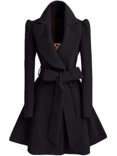 Black Shawl Collar Frock Coat With Belt -SheIn(Sheinside) Mobile Site