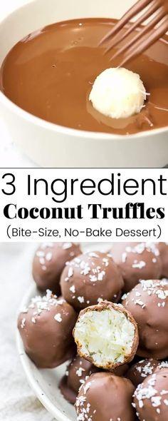 Truffles Easy No Bake, Coconut Truffles, Coconut Balls, Vegan Truffles, Truffles Recipe, Peanut Butter Balls, Coconut Pulp Recipes, Coconut Desserts, Recipes With Milk