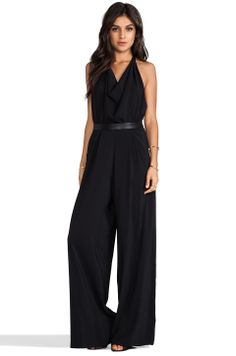 Alice + Olivia Danyl Open Back Disco Jumpsuit with Leather Waistband in Black