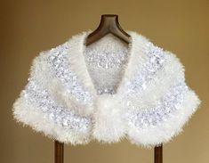 Knit Bridal Shawl Winter, Bridal Shrug for Wedding, Bridal Cover Up, Bridal Bolero for Wedding Wrap Bridal Bolero, Bridal Lace, White Bridal, Wedding Shawl, Tulle Wedding, Wedding Coat, Ivory Wedding, Shawl Crochet, Bridal Cover Up