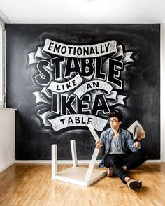 Awesome hand lettering mural by Stefan Kunz for IKEA furniture in Hamburg. Chalkboard Lettering, Hand Lettering Quotes, Creative Lettering, Typography Letters, Brush Lettering, Simple Lettering, Chalk Wall, Silhouette Cameo Tutorials, Learn Calligraphy
