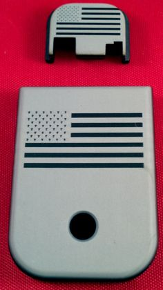 Glock accessories anodized aluminum combo slide end plate & bottom plate US Flag at www.rackcitymt.com #shoprackcitymt #usflag #gunaccessories Concealed Carry Men, Conceal Carry, Concealed Carry Reciprocity Map, Glock Girl, Glock Accessories, Zombie Gear, Doomsday Survival, Us Flags, Shock And Awe