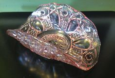 Vintage Pink Glass Banana Boat / Folded Dish.