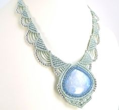 Macrame Necklace Moonstone With Light Blue And Green by neferknots