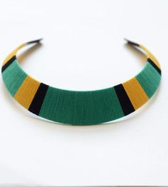 Thread Wrapped Bib Necklace - Green, Yellow and Black by The Glossy Queen on Scoutmob Shoppe