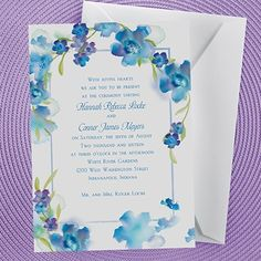 Watercolor Flowers - Invitation - Blueberry. Watercolor flowers boarder you wording beautifully on this bright white invitation.