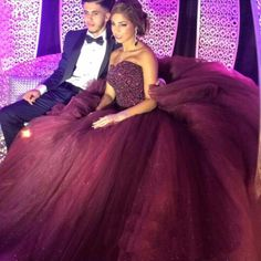 2016 Bling Cheap Quinceanera Ball Gown Dresses Burgundy Crystal Beads Tulle Sweetheart Long Sweet 16 Cheap Birthday Party Prom Evening Gowns Online with $159.17/Piece on Haiyan4419's Store | DHgate.com