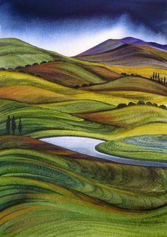New Zealand ~ Rural Landscape ~ Raewyn Harris Landscape Art Quilts, Abstract Landscape Painting, Landscape Paintings, Landscape Tattoo, New Zealand Art, Nz Art, Maori Art, Naive Art, Pastel Art