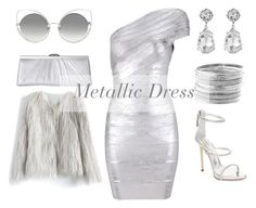 """Metallic Dress #1"" by hideous ❤ liked on Polyvore featuring Giuseppe Zanotti, Avenue, Jessica McClintock, Marc Jacobs, Kenneth Jay Lane, Chicwish, contest, Silver and metallicdress"