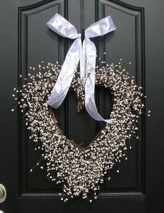 Wedding Decor - White Weddings - Reception Decorations - Church Doors - Front Door Wreaths - Berry Wreath. $90.00, via Etsy.