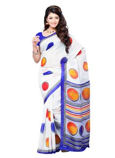 Shop online for indian sarees available in varieties. Worldwide free shipping. Princely print work casual saree.