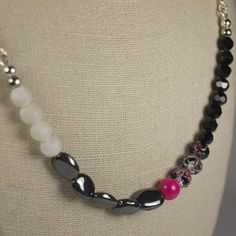 Ema Short Necklace - Agate, Hematite, Glass, Crystal. Limited Edition Jewellery Handmade in New Zealand. $49.00NZD www.theothermrsbell.com