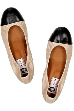 Lanvin leather ballerina flats in beige and black leather
