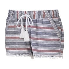 Juniors' Rewind Pom-Pom Hem Linen Shorts, Teens, Size: Medium, White Oth