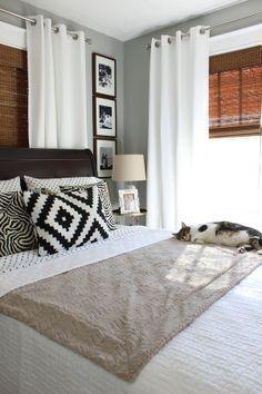 White curtains with mahogany shades