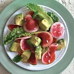 Watermelon Radish Salad with Avocado Vinaigrette | Williams-Sonoma (red + green + leafy green + sulfur)