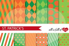 Green & Orange St Patrick'sDigital PapersScrapbookBackground::Patterns with diamonds, stars, stripes and dots. You get 12High Quality Sheets::JPG files inLettersize with300 dpi jpg, for perfect printing or digital use. These have so many uses, they are great for scrapbooking, crafts, party decor, DIY projects, stationery. All patterns are original and copyrighted by All is full of love